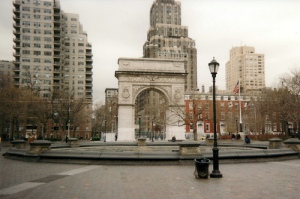 Deserted Washington Square Plaza - fountain & Arch