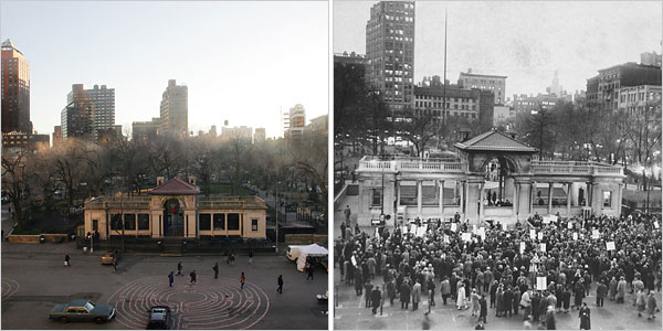 Union Sq Pavilion 2007 and 1960\'s Protest