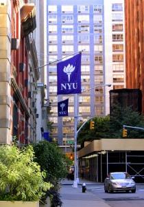 Downtown Manhattan, NYU Flags Abound