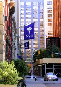 Downtown Manhattan, NYU Flags Abound