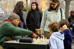 chess lesson at washington square park