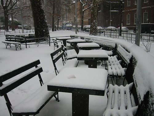 The famous Washington Sq Park chess tables covered in Snow '08