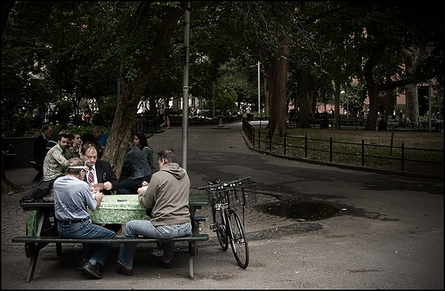 An interesting set of card partners, mid-day, Washington Sq Park
