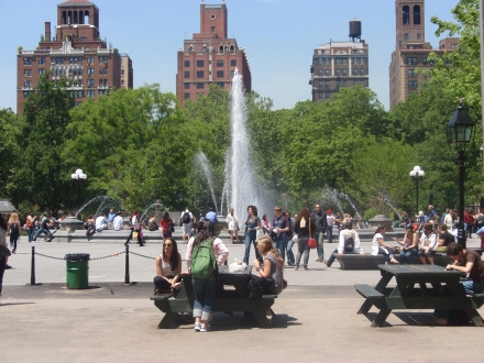 View of the Fountain from the East (Note: Picnic tables heavily in use)