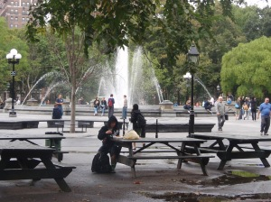 Picnic Table View of the Fountain (this area soon to be gone)