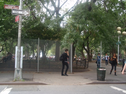 Washington Sq East - Fencing Installed to Left ; No Fence to Right (Yet)