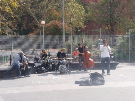 Performing Ftn Plaza by Fence